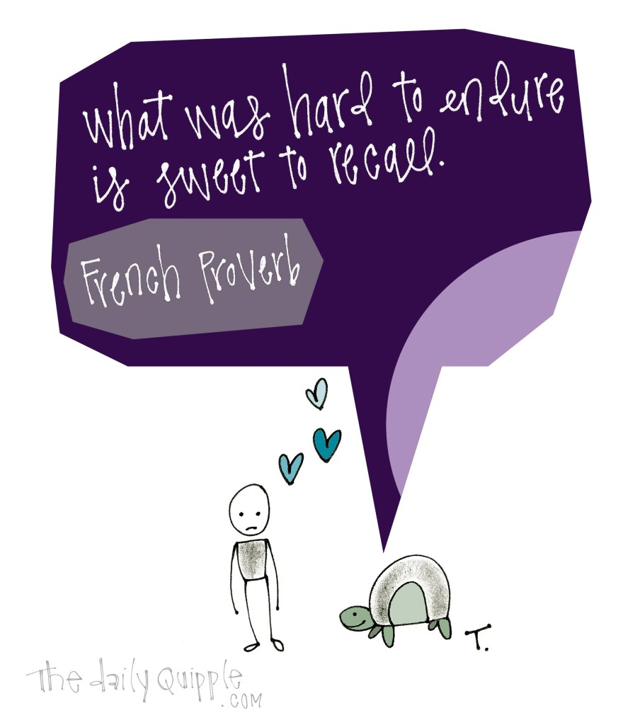 What was hard to endure is sweet to recall. [French proverb]
