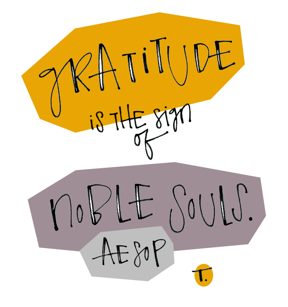 Gratitude is the sign of noble souls. [Aesop]