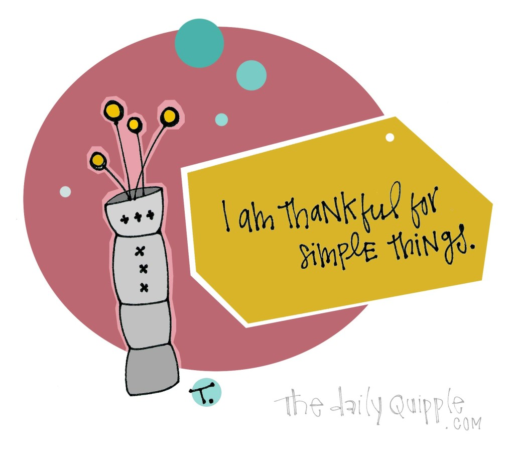 I am thankful for simple things.