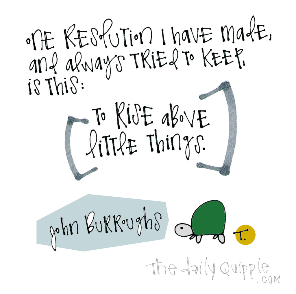 One resolution I have made and always tried to keep, is this: To rise above little things. [John Burroughs]