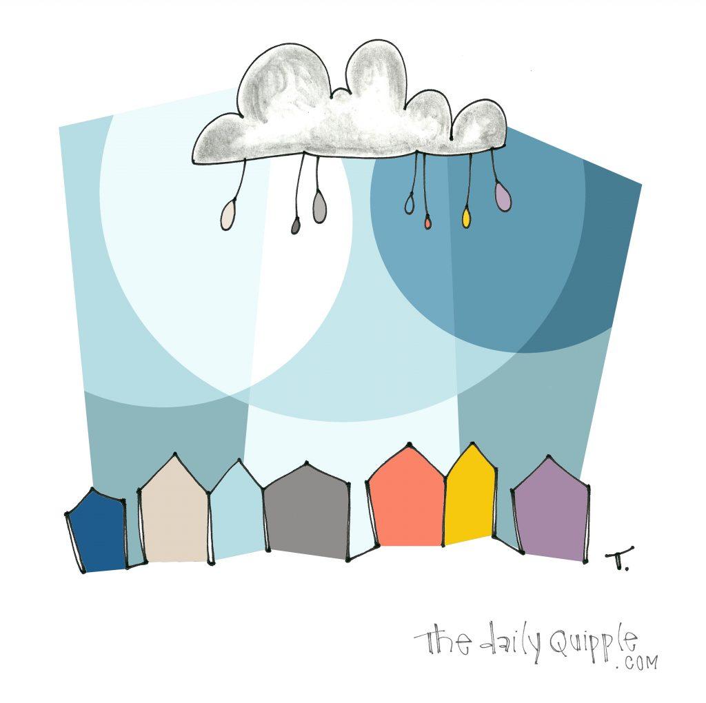 A raincloud above colorful row houses.