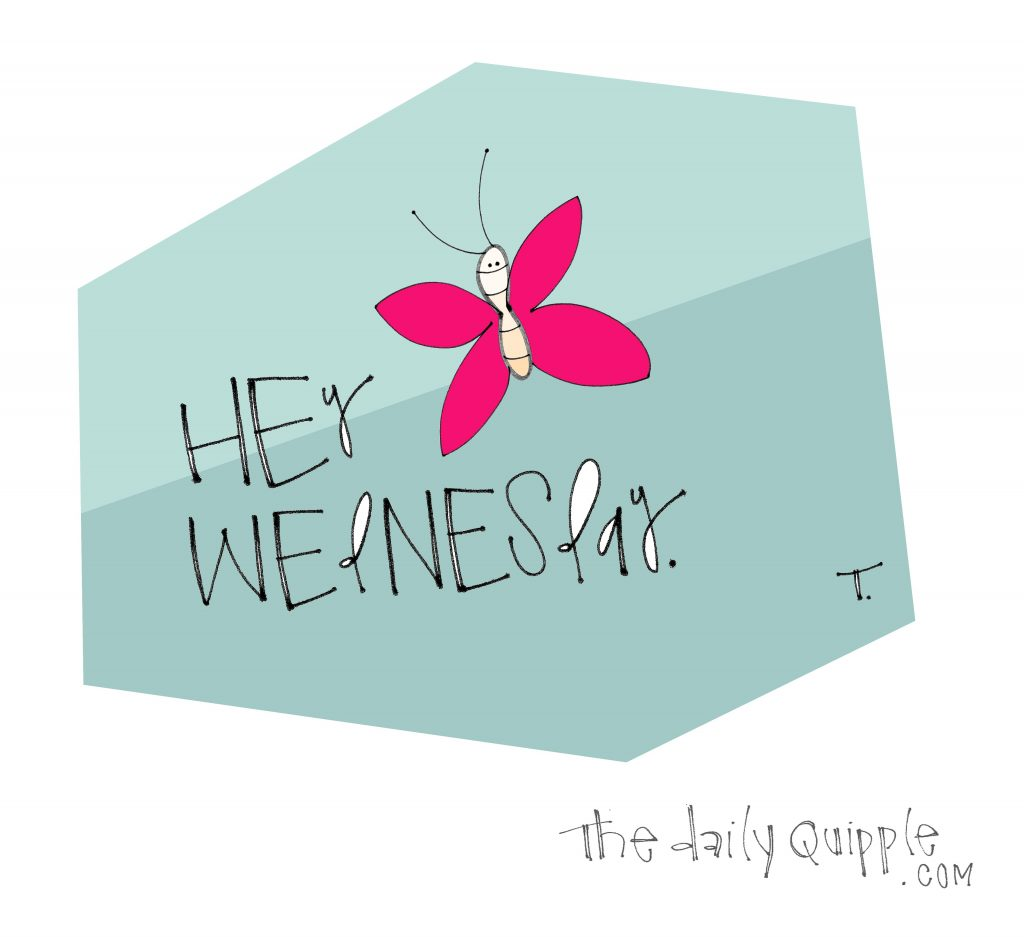 illustration of colorful butterfly with words: Hey Wednesday.