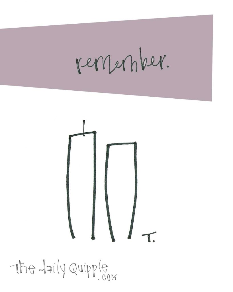 "Illustration of the Twin Towers and the word ""remember."""