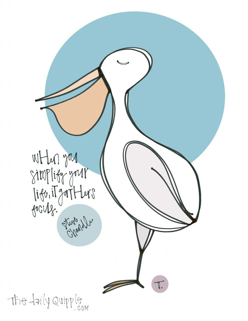 Illustration of a pelican and words: When you simplify your life, it gathers focus. [Steve Chandler]
