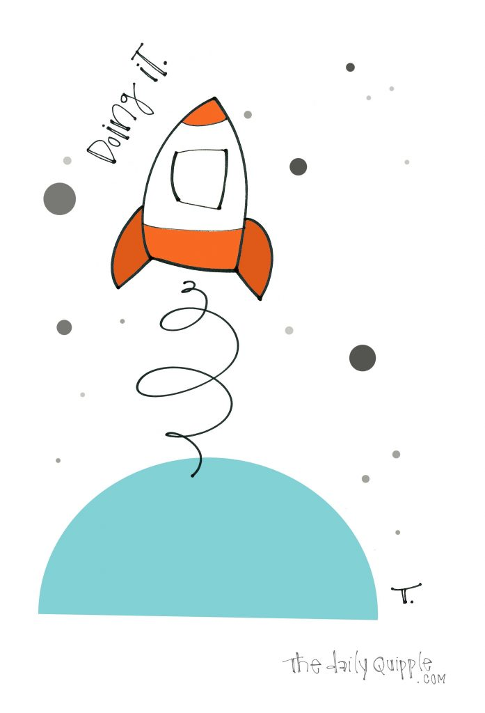 Illustration of a colorful rocket and words: Doing it.