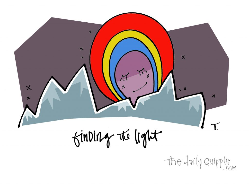 Illustration of mountains, a rainbow, and words: finding the light.