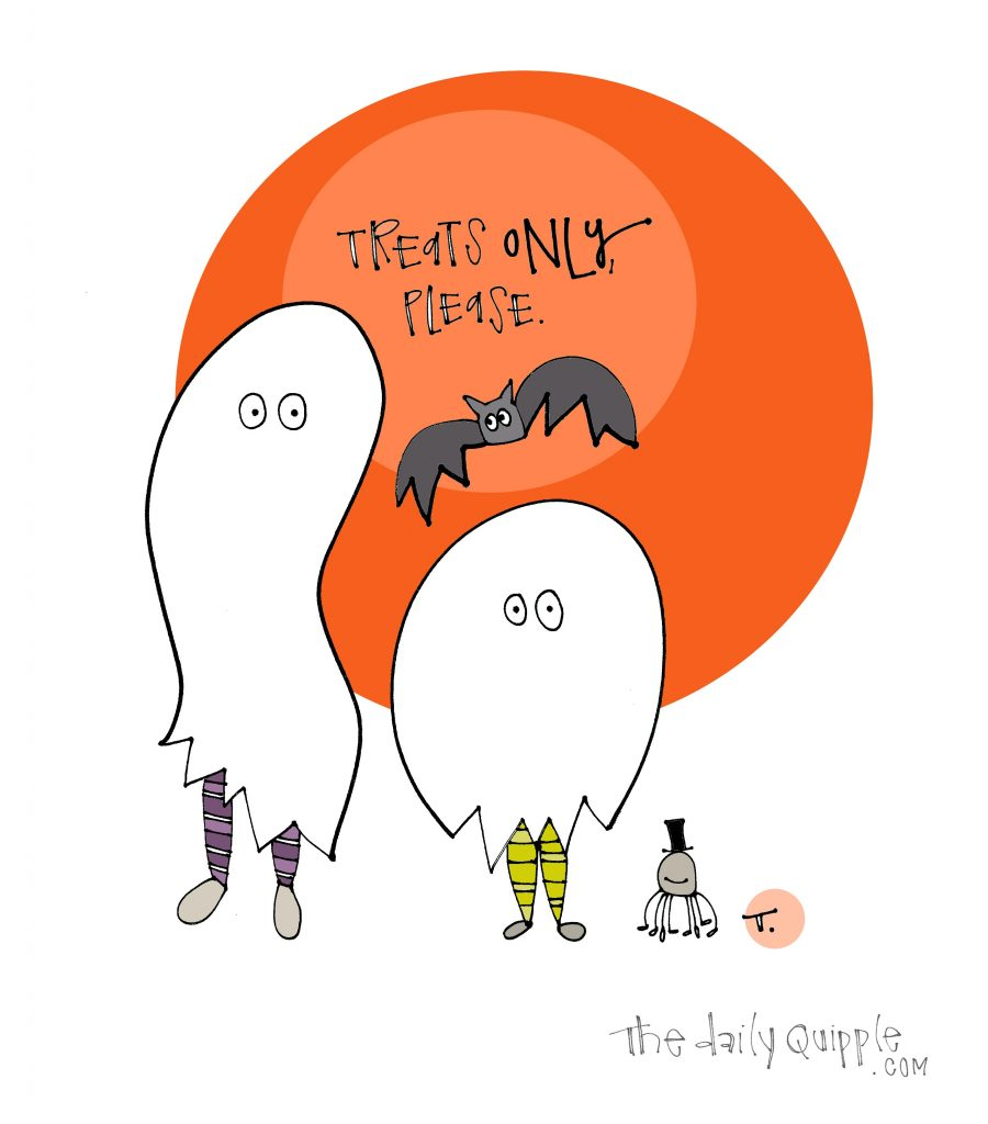 Illustration of two ghost costumes, a bat, and a happy spider in front of an orange moon with words: Treats only, please.