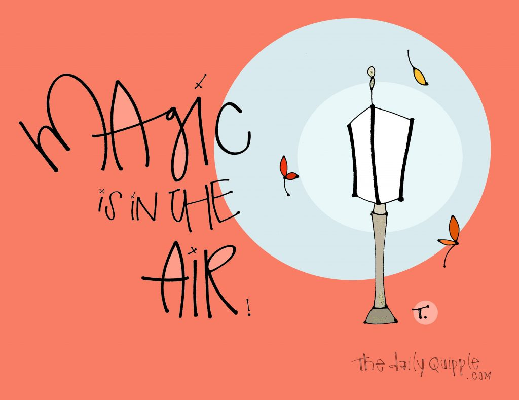 Illustration of a street lamp surrounded by falling leaves and words: Magic is in the air!