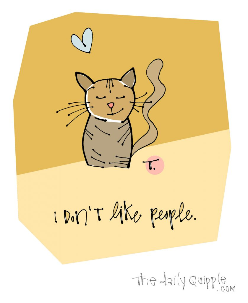 Illustration of a cat with words: I don't like people.