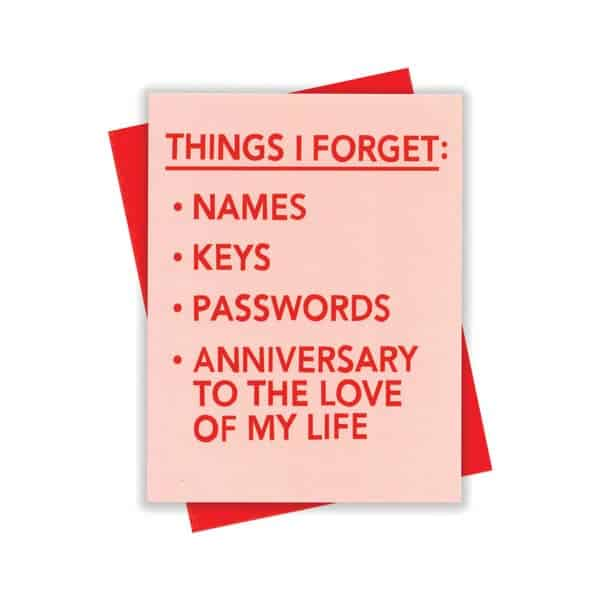Anniversary List Card