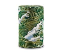 Green wave washi tape tea storage tin