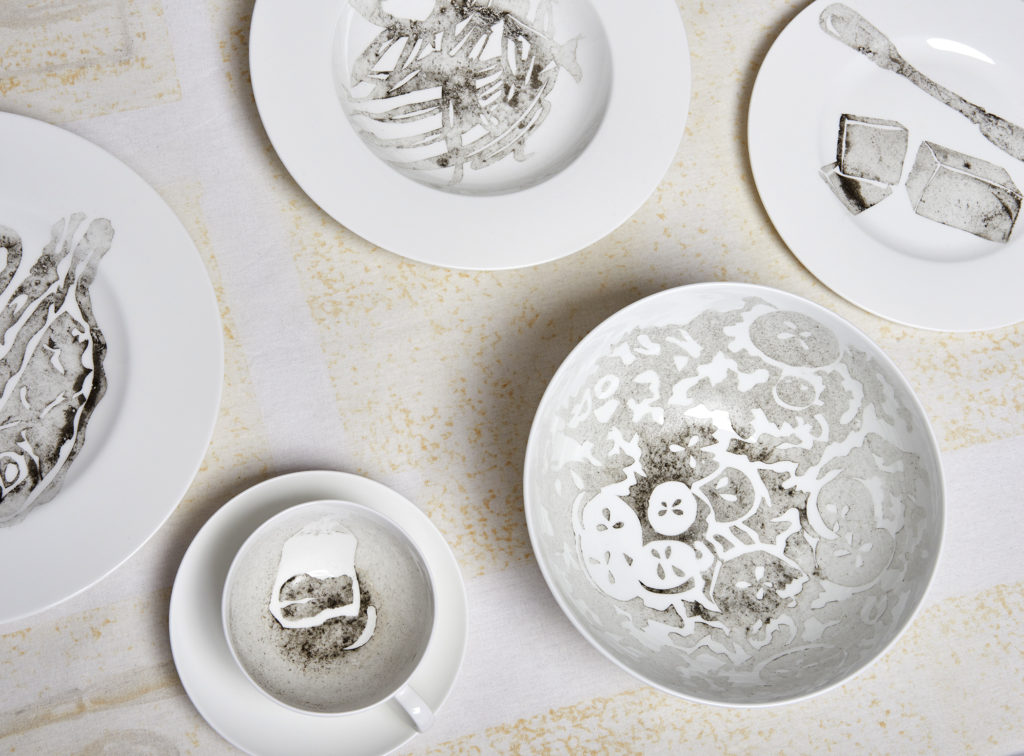 Dinner for Two in One Month of Smog (2011) Smog (particulate matter) on porcelain dinnerware and linen