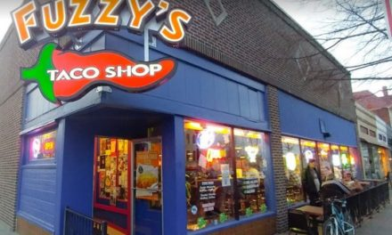 Inspection following complaint at Fuzzy's Taco Shop lead to 7 violations; discussed Listeria concerns due to verified expired green enchilada sauce