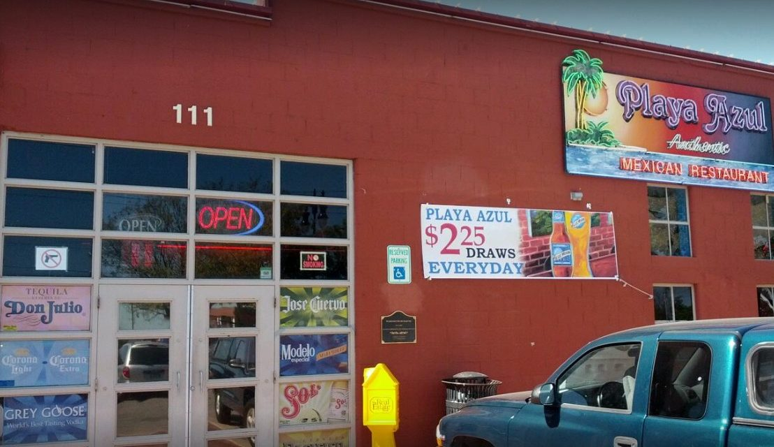 13 violations, Playa Azul Authentic Mexican in Wichita bumbles inspection; Can of gasoline stored on a shelf, pan of shrimp stored in the bottom of a sink to thaw. The sink was directly plumbed to the sewer