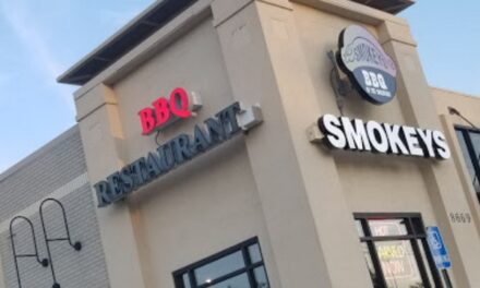 Complaint inspection Smokey's BBQ in Overland Park finds RUJU sauce dated 5/31, repeat violation- container contained a moldy food that could not be identified, fouls 3rd inspection this year