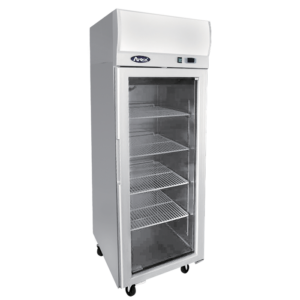 Atosa 1 glass door commercial fridge display on wheels