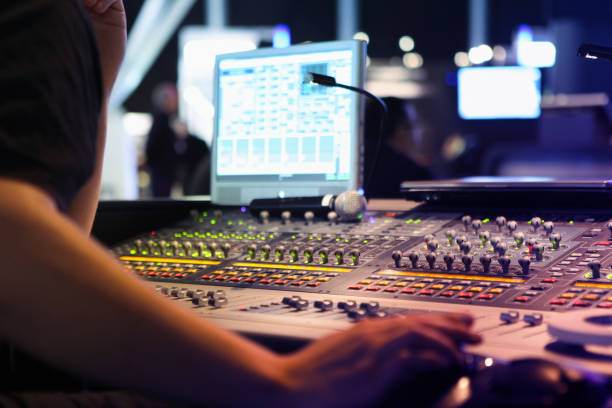close ups on sound engineer with studio sound and visual mixer used for media and events directing and recording studios