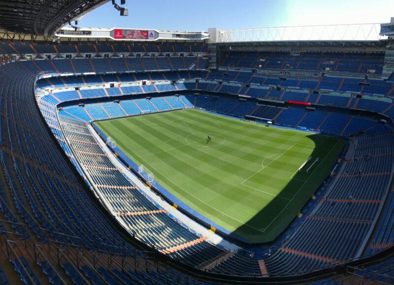 Empty soccer stadium.
