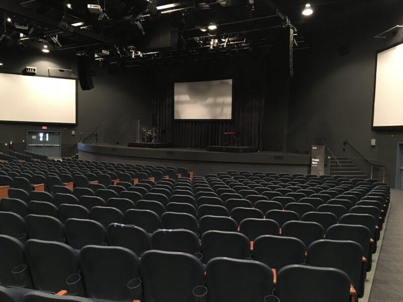 Inside empty theater venue.
