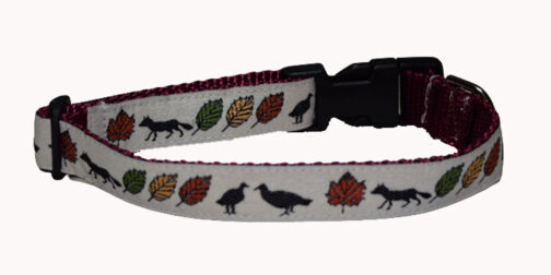 Fox and Leaves Dog Collar