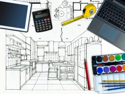 Top view of Business office table with home decoration and renovation concept  over Pantry perspective view background