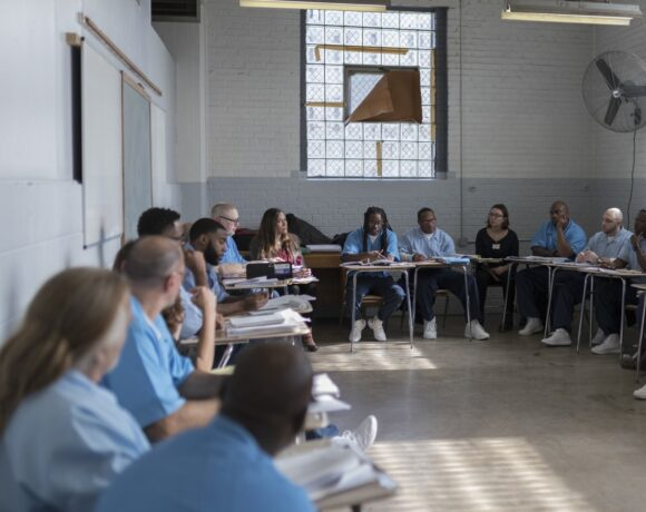Students in an in-person class for the University Prison Education Program