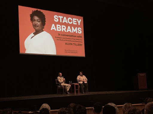 Professor Alvin Tillery (left), facilitates a Q&A with Stacey Abrams (right) at Northwestern's Cahn Auditorium on October 10, 2019.