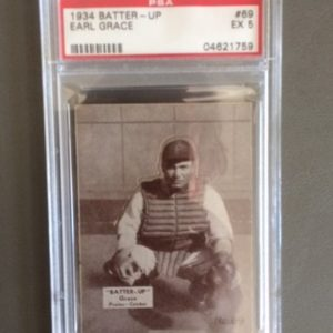 1934 Batter Up Baseball Card Earl Grace