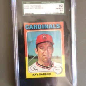 1975 Topps Mini Baseball Card 349 Ray Sadecki