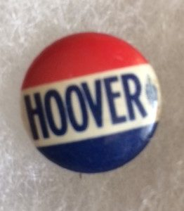Hoover for President 1932 name pinback