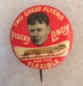 Plucky Lindy Flexible Flyer Pinback old
