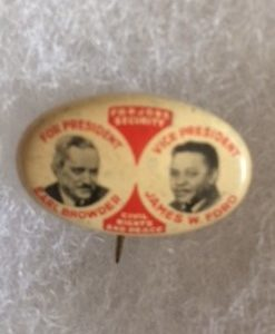 1940 Communist Party Browder & Ford Pinback