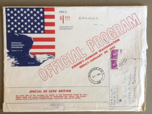1961 JFK inauguraton program envelope