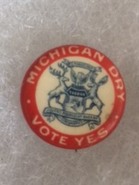 Michigan Dry Vote Yes Prohibition Pinback