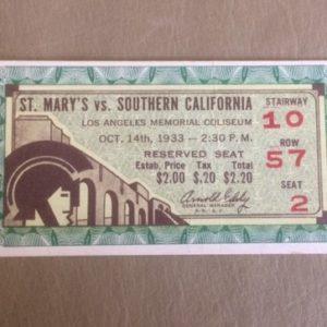 1933 USC vs St Marys Football Ticket Stub