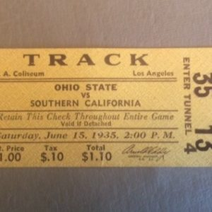 1935 USC vs Ohio State Track Meet Ticket Stub