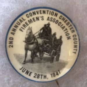 1941 Chester County Fireman Pinback with horse drawn wagon
