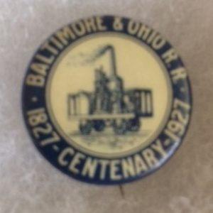 B&O Centenary 1927 pinback