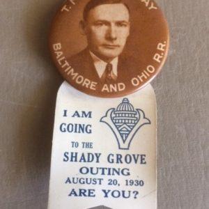 B&O Shady Grove Outing 1930 pinback