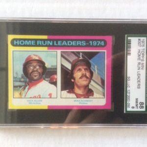 1975 Topps Mini Baseball Card 307 Home Run Leaders