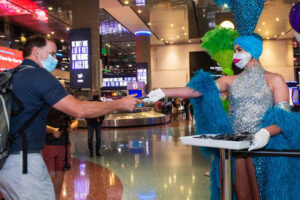 las vegas showgirl and visitor