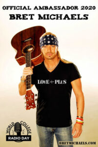 Bret Michaels is the Official Ambassador for the 10th Annual World College Radio Day on October 2nd, 2020