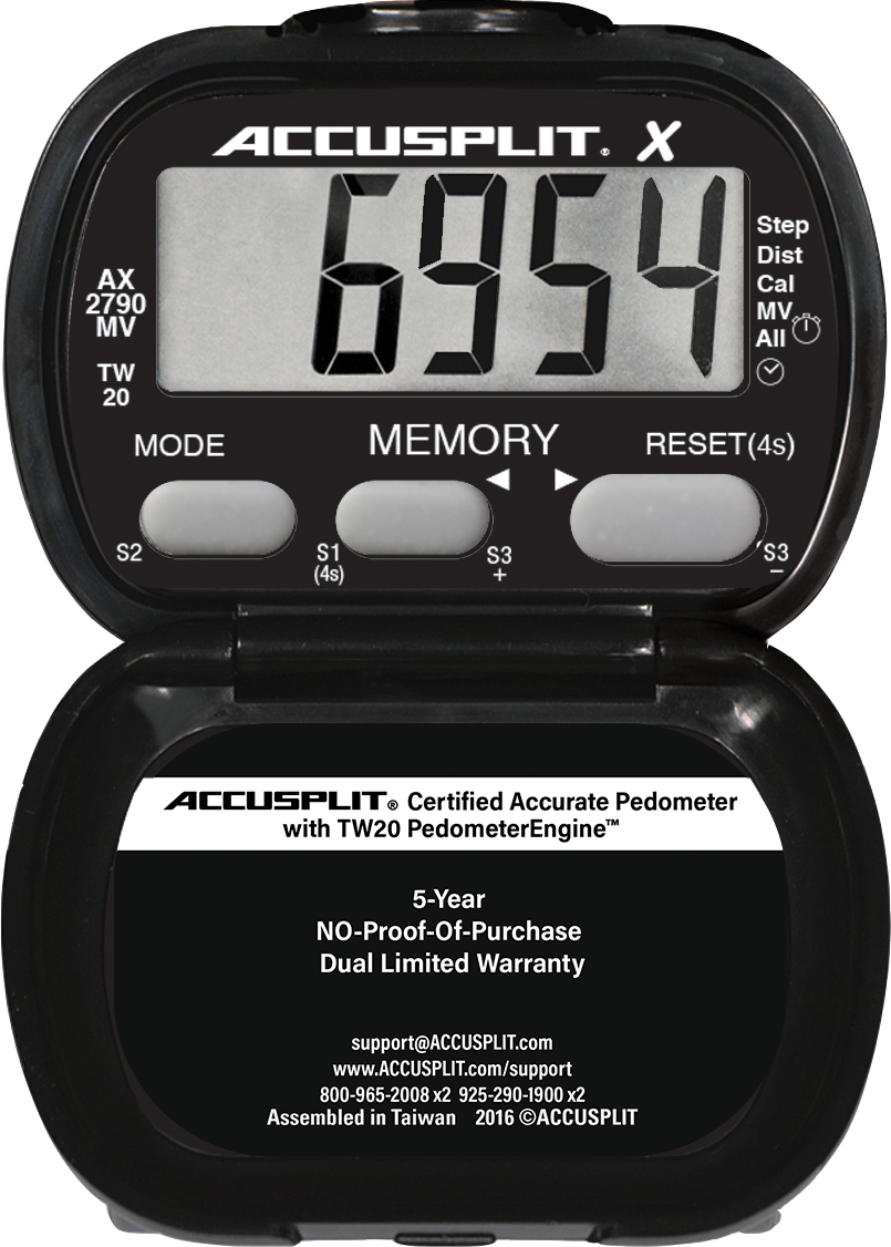 ACCUSPLIT AX2790MV Accelerometer Pedometer wit moderate to vigorous bouts of activity time