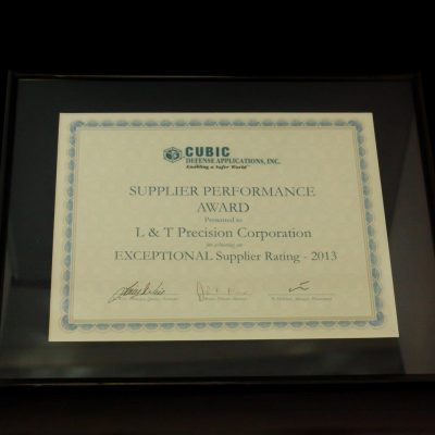 Cubic Defense's Supplier Performance Award to L&T Precision 2013