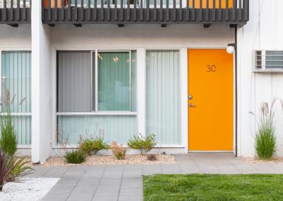 Apartment unit with orange door