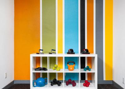 Gym Equipments on shelf
