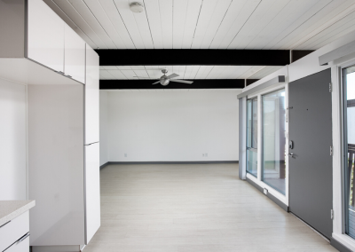 White and Gray apartment with exposed beam and front door