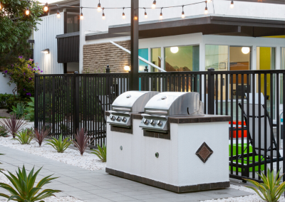Outdoor BBQ grills with string lights