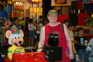 Yep. Andre and I had just been snorkeling and somehow ended up having lunch at Chuck E. Cheese. Long story.