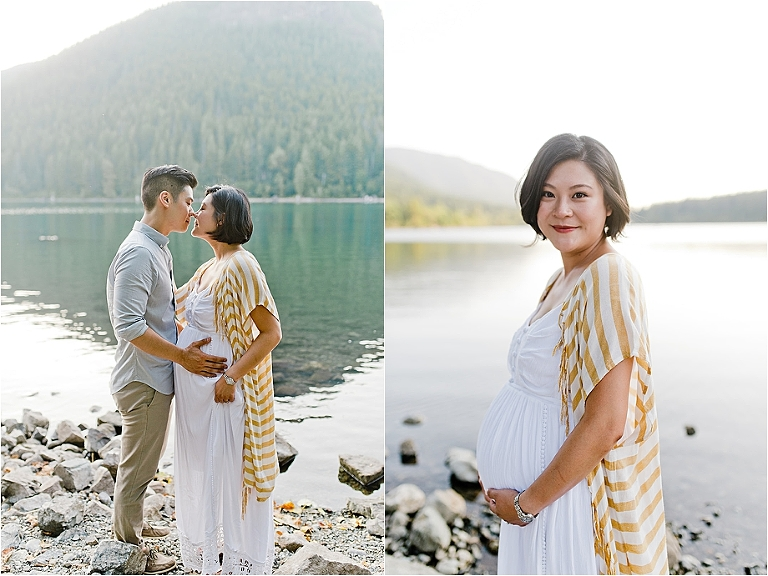 asian couple maternity portraits at rattlesnake lake